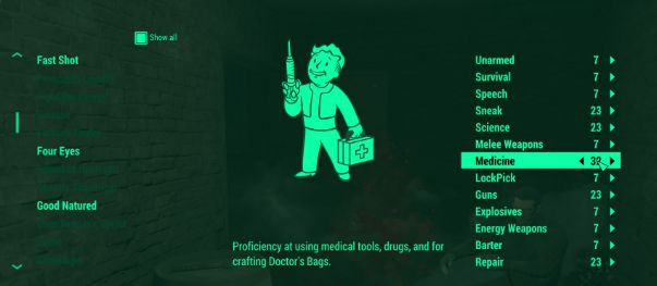 Fallout 4 SPECIAL perks